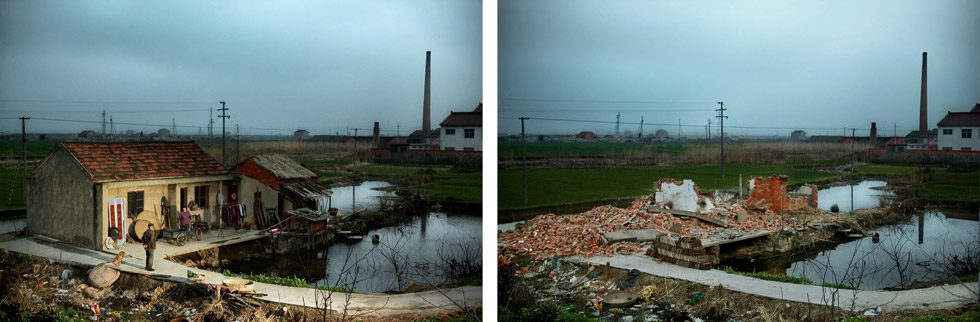 Before and After: Destruction, Jianqxin Island, China