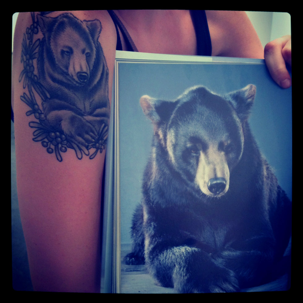 Jill Greenberg photograph used as source for bear tattoo!
