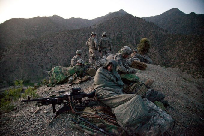 """Chad Hunt, Stand to first light, 5 day mission, """"Thunder 2,"""" with the 3-509 Army Airborne Geronimo Scouts, with the goal to discrupt Taliban activity and find weapons caches, south east tip of Paktika Province, Town of Kalay, 10 miles from Pakistan border, Afghanistan"""
