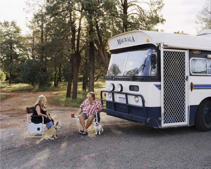 Amy Stein, A Couple Two Dogs and a Bus with a Fly-Screen Door, Road to Cobar