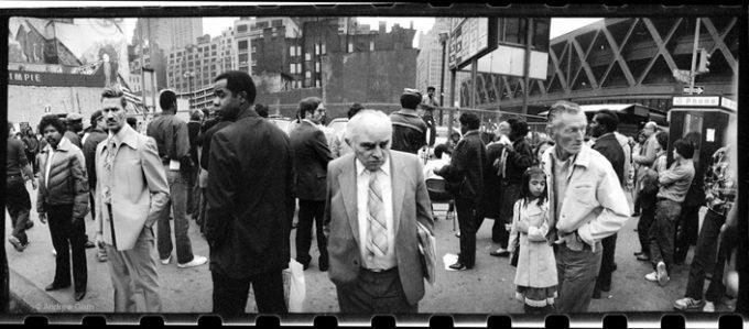 Andrew Garn, Old Man Widelux Crowd, 42nd Street