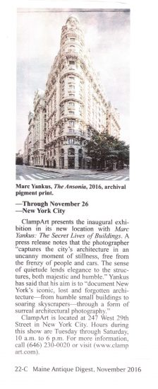 "Marc Yankus | ""The Secret Lives of Buildings,"" Maine Antique Digest"