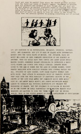 Jack Smith, Artistic Manifesto