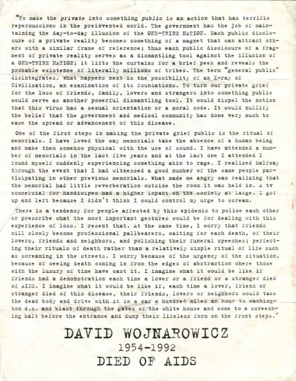 David Wojnarowicz, Memorial Flyer, Died of Aids