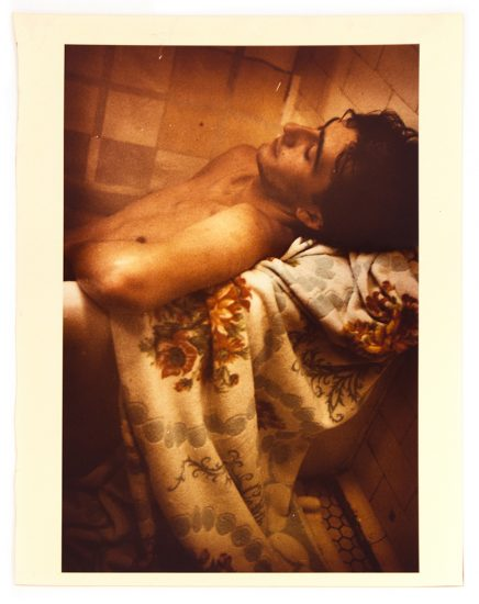 Mark Morrisroe, Untitled (Man in Bath with Flowered Towel)